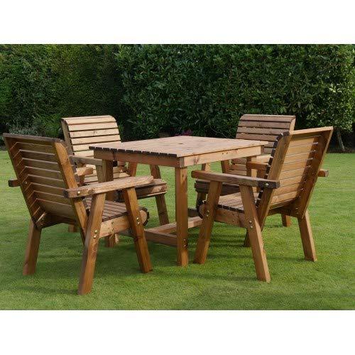 Riverco Bistro Table + 4 Chairs - Seats 4 People - Premium Outdoor Garden Furniture