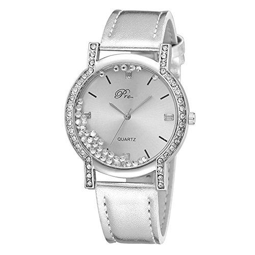 LinTimes Damen Fashion Armbanduhr Fließende Strass runden Zifferblatt Analog Quarz Uhren mit Lederband - Silber