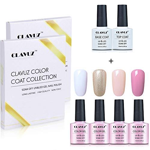 CLAVUZ Smalto Semipermente Smalto per Unghie Set Kit da 4pzs Gel Colores e Top Coat Base Coat Nail Soak off UV LED Romantico Gel Semipermanente per Unghie Manicure 10ML Gift Set - C007