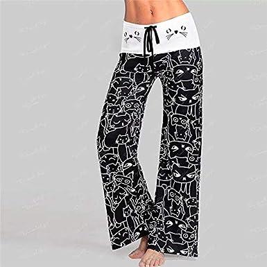 per linverno morbidi ed elastici pantaloni da salotto Pigiama da donna comodi a righe gamba larga