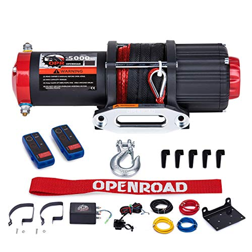 OPENROAD 5000Lbs 12 Volts Electric Winch, Winch for ATV/UTV/Boat, 5000Lbs /2267kg Electric Winch Kit, with 15m/49ft Winch Synthetic Rope, Towing Off-Road Electric Winch Recovery kit (5000Lbs Black)
