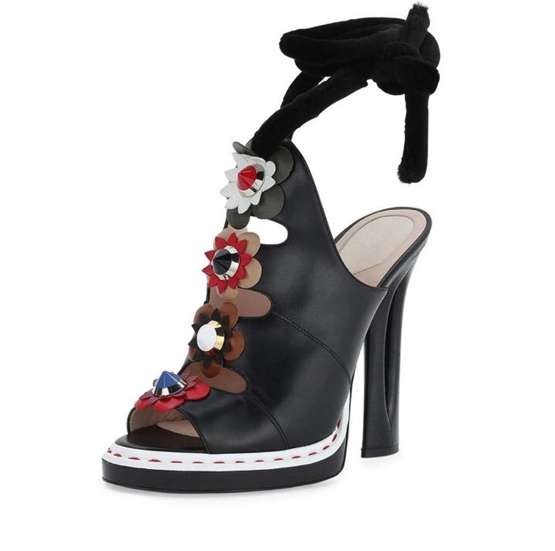 [ELEGENCE-Z] ハイヒールのサンダル、ヨーロッパとアメリカの耐摩耗性の腱の底立体の花の魚の口のサンダル本革の女性の靴の宴会