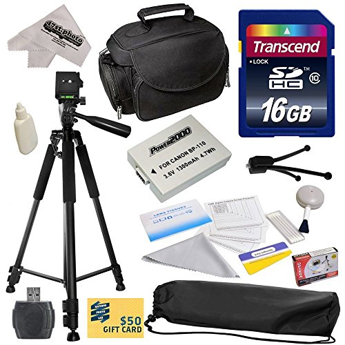 """Best Value Accessory Kit for Canon HF R20 R21 R26 R27 R200 R205 R206 HFR20 HFR21 HFR26 HFR27 HFR200 HFR205 HFR206 Video Camera Camcorder Includes - 16GB High-Speed SDHC Card + Card Reader + Power2000 Ultra High Capacity 1300mAh Replacement Battery for the Canon BP-110 BP110 + Deluxe Padded Carrying Case + Professional 60"""" Tripod + Lens Cleaning Kit including LCD Screen Protectors Photo Print"""