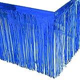 Leegleri 2 Pack Blue Metallic Foil Fringe Table Skirt Plastic Tinsel Tale Skirt Garland Banner for Parade Floats Mardi Gras Party Decoration(L108 inH 29in)