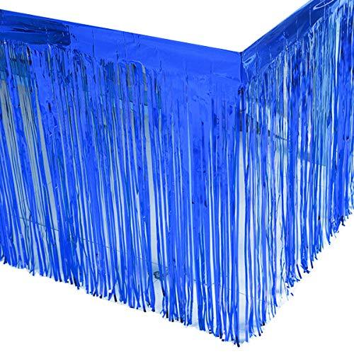 Leegleri 2 Pack Metallic Foil Fringe Table Skirt Blue Table Skirt Tinsel Party Table Skirt Banner for Mardi Gras Party(L108 inH 29in,Blue)