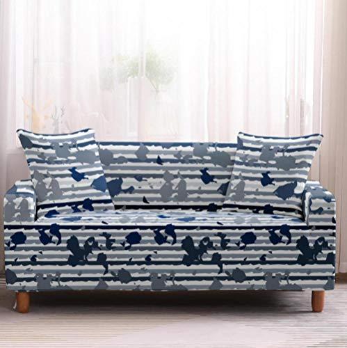 Funda de sofá de 1 Plazas Funda Elástica para Sofá Poliéster Suave Sofá Funda sofá Antideslizante Protector Cubierta de Muebles Elástica Patrón de Camuflaje Azul Funda de sofá