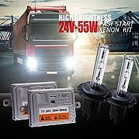 車用LEDバルブ 24VトラックヘッドライトHIDキセノンキット55W H4ビシエノンH7 H11 4300K 5000K 6000K H1 8000Kスーパーブライト24Vバンボートランプ電球 車、トラック、SUV、バン用 (Color Temperature : 3000 K)