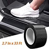Car Door Sill Protector Bumper Protector Carbon Fiber Car Wrap Film 5D Gloss Black Vinyl Automotive Wrap Film Self-Adhesive Anti-Collision Film Fits for Most Car (2.7In x 33Ft, Black)