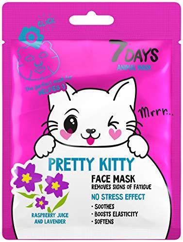 7DAYS Animal Masks 1 pieza de Máscaras Faciales de Animales Kitty Hydrated