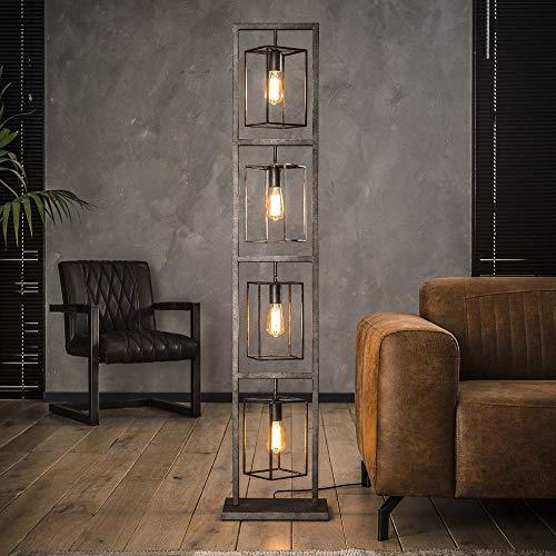 famlights Stehleuchte Saskia aus Metall in Silber eckig, 4x E27, Industrial Design   edle Stehlampe für Wohnzimmer, Schlafzimmer   Designerleuchte moderne Wohnzimmerlampe   Standleuchte Vintage Retro