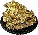 BWHTY Estatuas de Rana de Dinero de Feng Shui Chino para Negocios o el hogar, Tres Patas, Grande, de latón, Rana de Riqueza o Sapo de Dinero, Figura 1017 (Color: pequeño)