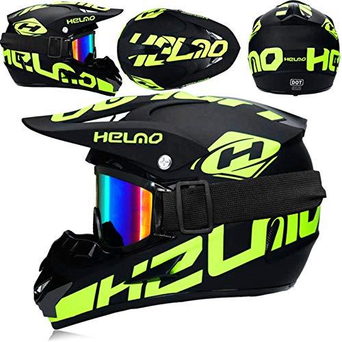JWL Motorradhelm Cross Helme Schutzhelm Motocross Helm Für Motorrad Crossbike Off Road Enduro Sport Mit Handschuhe Sturmmaske Und Brille ?4 Stück?Fluoreszierendes Grün (M)