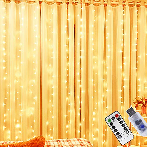 Lichtervorhang 200 LEDs, LED Lichterketten Lichtervorhang 3m x 2m, USB Vorhanglichter Innenbeleuchtung mit 8 Modi, Wasserfest LED Lichterkette Warmweiß für Party Schlafzimmer Innen und außen Deko