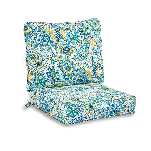 South Pine Porch AM7820-BALTIC Baltic Paisley 2-Piece Outdoor Deep Seat Cushion Set