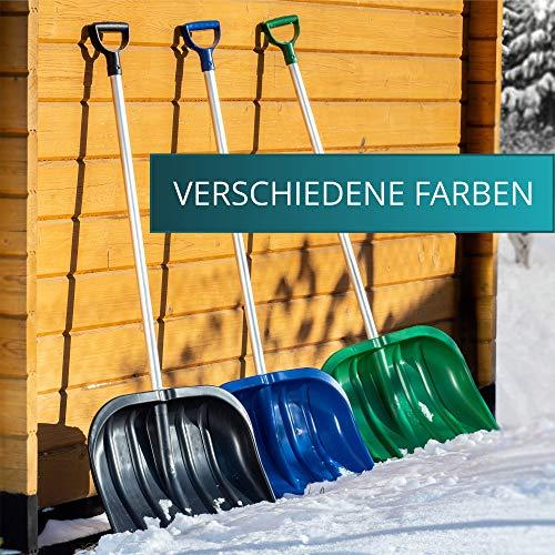 KADAX Schneeschaufel mit ergonomischem Griff, Kunststoff-Blatt, Schneeschieber, ideale Schneeschippe für kleine und große Schneemengen, Schneeräumer, stabil (Aluminium-Stiel, schwarz) - 5