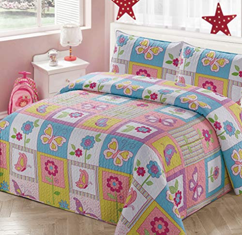 Kids Zone Home Linen Bedspread Coverlet Quilt Set for Girls Patchwork Butterfly Flowers White Purple Blue Green Pink (Twin)