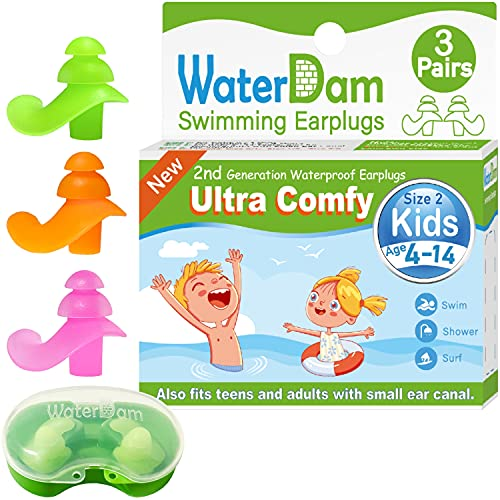 WaterDam Upgraded Swimming Ear Plugs for Kids Age 4-14years – 3 Pairs Ultra Comfy Waterproof Earplugs for Child Reusable Silicone Ear Plugs Prevent Swimmer's Ear (Green Orange Pink)