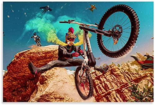 HuGuan Lienzo Pintura Al óLeo Bicicleta de montaña de Deportes Extremos e Imagen Moderna para la decoración del Comedor Poster Y Estampados Arte Cuadros 19.7'x27.6'(50x70cm) Sin Marco