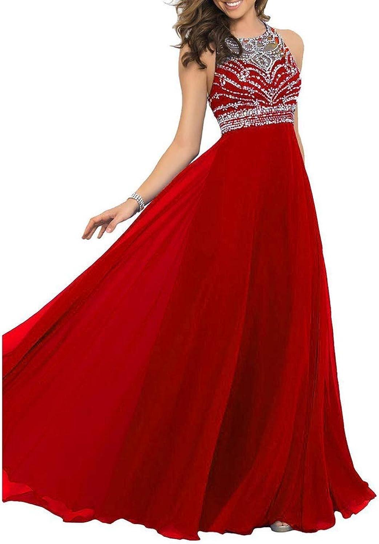 CEFULTY Women Dress Sleeveless Beads Hight Waist Open Back Sexy Party Wedding Evening Maix Dresses (color   Red, Size   US6)