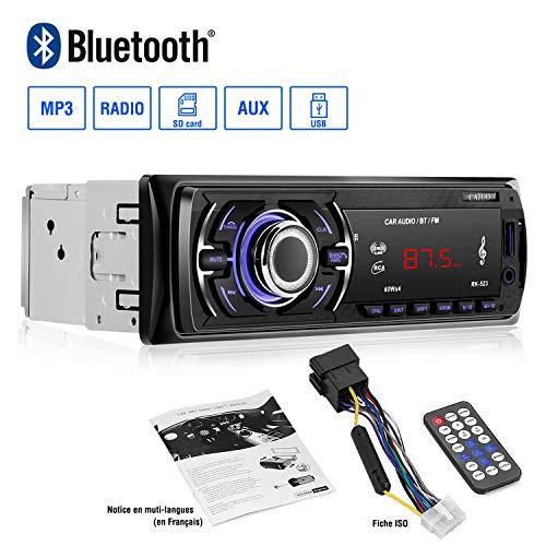 Autoradio mit Bluetooth Freisprecheinrichtung 4 X 60W Auto Audio Stereo FM AM Radio Tuner Autoradio Bluetooth USB/SD/AUX/Smartphone mit Fernbedienung