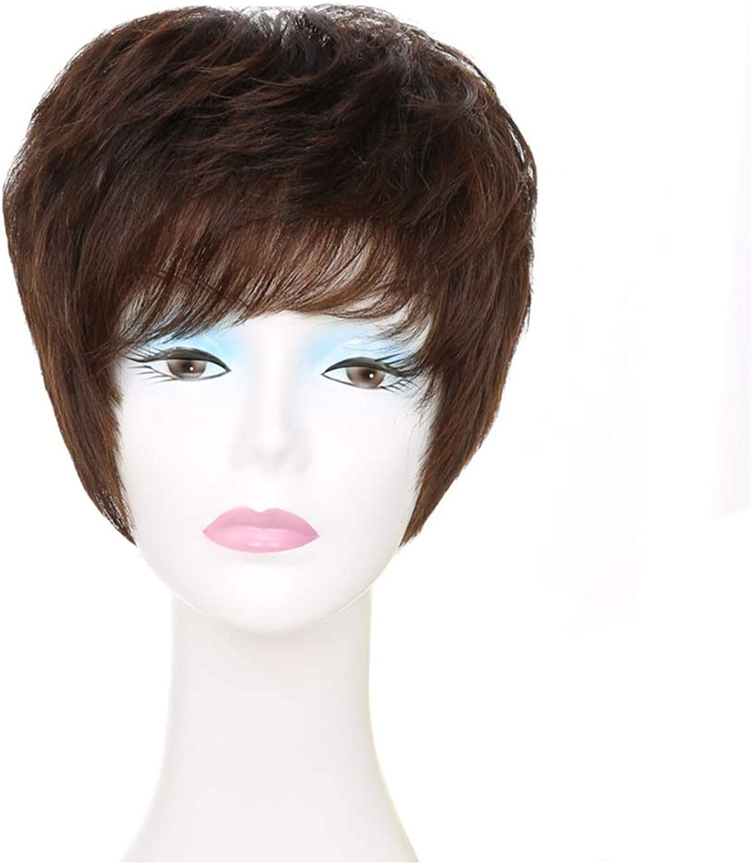 WEATLY Frauen Kurze lockige Haare Perücke volle Hand gewebt 100% Echthaar Wilde Perücke (Farbe   braun)