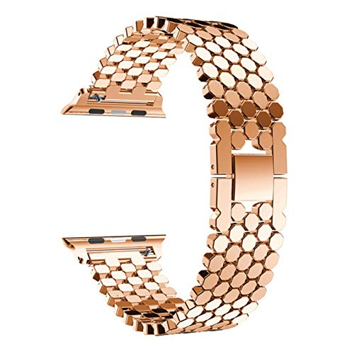 Correa deportiva de acero inoxidable para Apple Watch 5 4 bandas 44 mm 40 mm para Iwatch 3/2/1 42 mm 38 m Accesorio de correa de pulsera de eslabones metálicos-oro rosa, 38 mm-40 mm