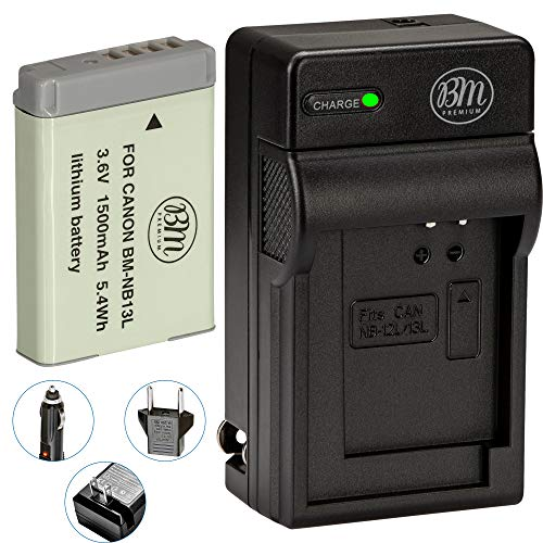 BM Premium NB-13L Battery and Battery Charger for Canon PowerShot SX740 HS, G1 X Mark III, G5 X, G5 X Mark II, G7 X, G7 X Mark II, G7 X Mark III, G9 X, G9 X Mark II, SX620 HS, SX720 HS Digital Cameras