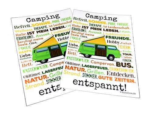 AnneSvea Camping ontspannen. Ansichtkaart 2 stuks A6 deco trailer postcard vakantiegroet camper bus