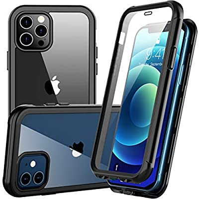 Redpepper for iPhone 12 Case,for iPhone 12 Pro Case, Shockproof Built-in Screen Protector Clear Full Body Heavy Duty Rugged Case for iPhone 12,for iPhone 12 Pro(Black/Clear)