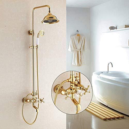 HUASATAO Duscharmaturen Gold Badezimmer Regendusche Wasserhahn Set Mischbatterie Mit Handsprüher Wand Bad Duschkopf Hj-859K
