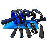 unycos - Kit de Rueda Abdominal, Push Up Bars, Cuerda para Saltar, Fortalecedor de Mano, Rodilla Mat para Entrenamiento en Casa Ejercicios Fitness (Azul)