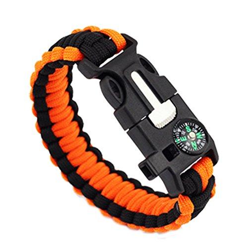 EXOH extérieur de survie Boussole Bracelet Sifflet Gear Flint Fire Starter Bracelet (Noir + Orange)