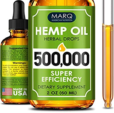 Hemp Seed Oil Drops 500,000 - Premium Colorado Seed Extract - Natural Omega 3, 6, 9 Source - Grown and Made in USA - Pain and Inflammation Relief, Reduces Stress and Anxiety, Provides Restful Sleep by Marq nutrition