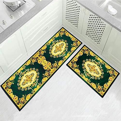 OPLJ Alfombrilla para Suelo de Cocina con Estampado de Flores geométricas, Felpudo para baño, Dormitorio, Sala de Estar, Pasillo, Alfombrilla Antideslizante Lavable A8 40x120cm