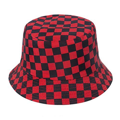 follwer0 Sombrero de cubo multicolor a cuadros de pescador, plegable, casual, para la playa al aire libre R Talla nica