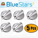 Ultra Durable WB03T10284 Range Control Knob Stainless Steel Finish Replacement Part by Blue Stars - Exact Fit For GE Range/Stove/Oven - Replaces 1373043 AP4346312 PS2321076 - PACK OF 5