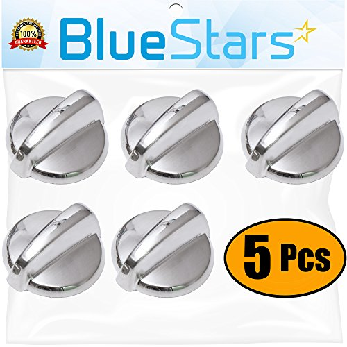 Ultra Durable WB03T10284 Range Control Knob STAINLESS STEEL Replacement Part by Blue Stars - Exact Fit For GE Range/Stove/Oven - Replaces 1373043 AP4346312 PS2321076 - PACK OF 5