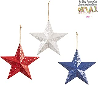 Country Americana 3D Metal Stars Wall, Door, Window and Barn Decor 8 Size   Set of 3 Red, White and Blue for 4th of July or Patriotic Celebration