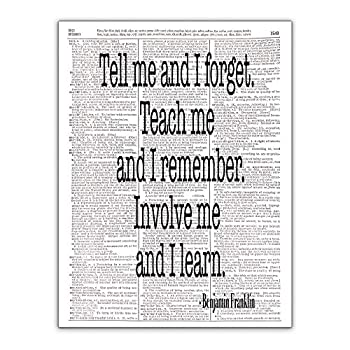 Tell Me and I Forget Benjamin Franklin Quote Dictionary Page Photo Print 8x10 Unframed