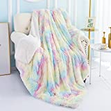 Noahas Soft Fuzzy Rainbow Blanket for Girls Kids, Plush Fluffy Throw Blankets with Sherpa Reversible Cute Faux Fur Blanket for Couch Sofa Bed, Colorful and Lightweight Rainbow Throw Girls Room Decor