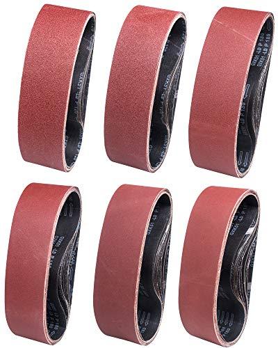 Bandas de Lija 100 x 915 mm 12 Piezas Banda Abrasiva 3 x Grano 60/80/120/180/240/320 para Lijadora de Banda,para Quitar el Polvo, Quitar la Pintura y Pulir-STEBRUAM