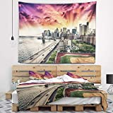 Designart 'FDR Drive and Manhattan Skyline' Cityscape Photo Tapestry Blanket Décor Wall Art for Home and Office, Created On Lightweight Polyester Fabric Medium: 39 in. x 32 in
