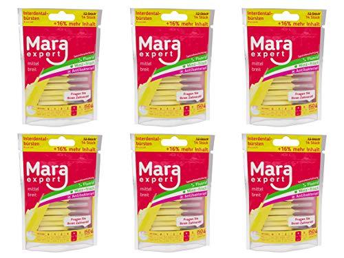 Interdentalbürsten Gelb von MARA EXPERT   0,7mm ISO 4 mittel breit   6 x 14 (=84) Interdentalbürsten   Ideal für feste Zahnspange   Mit Fluorid, Chlorhexidin und Minzbeschichtung, Für frischen Atem