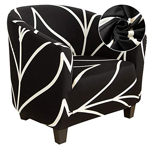 papasgix Chesterfield - Funda elástica para sillón de cóctel, extraíble, lavable, antideslizante, estampado de 1 plaza, para tul, banco, salón, color negro moderno