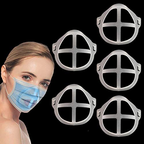 3D Bracket for Comfortable Wearing, Silicone Internal Support Frame for Cloth Face Bandanas Shield, Holder Keep Fabric off Mouth to Create More Breathing Space, Makeup Lipstick Protection Reusable, Pack of 5