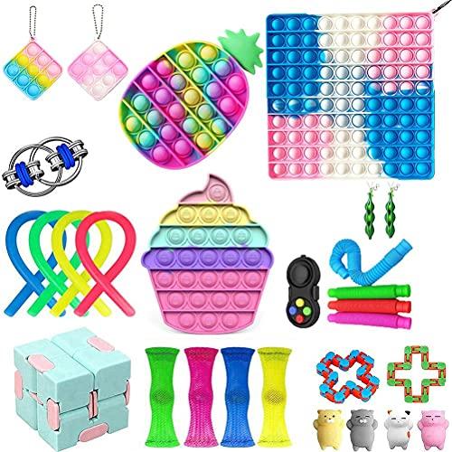 Juego de 28 juguetes de fidget para autismo, hiperactividad, alivio del estrés con cubo infinito, bola de estrés con cadena Flippy para niños y adultos
