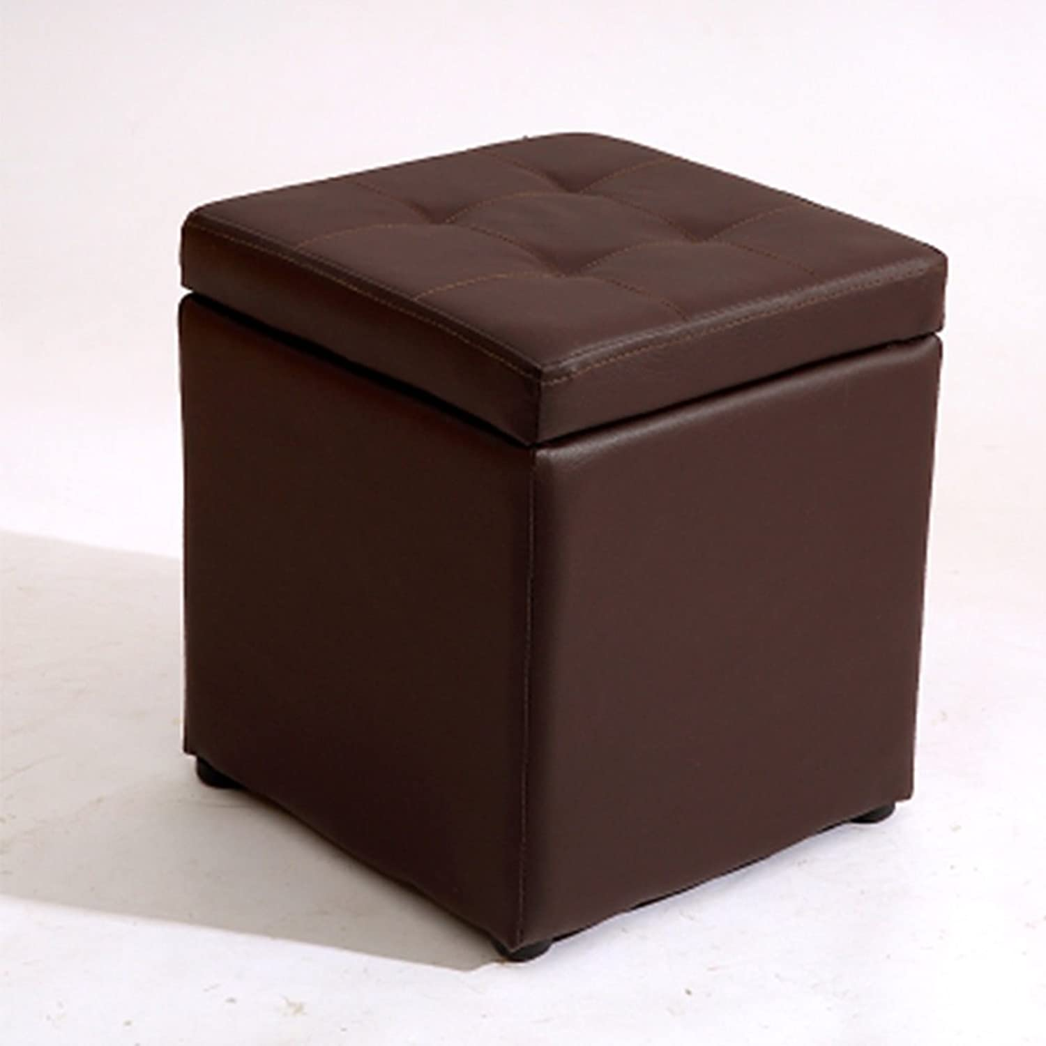 FORWIN US Stool- Stool Cubes bluee Wooden Storage Stool shoes Stool Small Artificial Leather Hall Foyer Stools Sofa Stool Finishing Box 30 X 30 X 35 cm Stool (color   Brown)