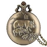 Montre de poche décorative en bronze avec motif de cochon - Pour homme - Avec chiffres arabes - Montre de poche pour adultes - Durable - Fine chaîne - Pour personnes âgées