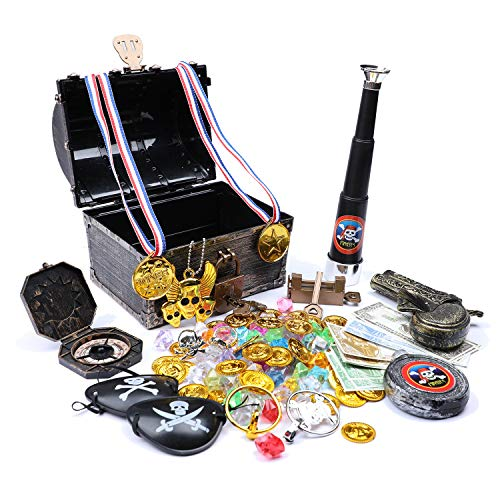Leadtex Kids Pirate Treasure Chest Vintage Box with Accessories,Bronze.
