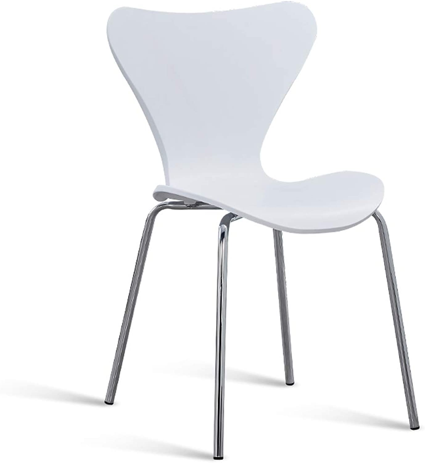LRW Modern Minimalist Iron Chair Dining Hall, Fashion and Creative Butterfly Chair, Family Dining Chair, Stainless Steel Backrest Chair, White